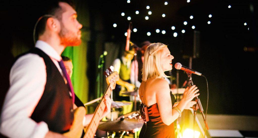 Funk Soul Few wedding reception musicians on stage in Harrogate