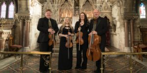 High Row String Quartet pope in Rudding Park Chapel before playing wedding ceremony music