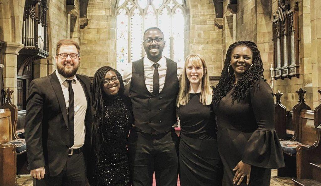 Gospel Choir pose after wedding ceremony in York