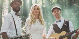 Just Folk wedding musicians perform wedding ceremony music in Harrogate woods wedding