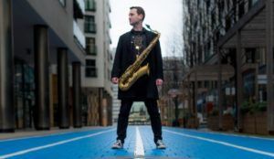 SAX DJ poses before playing set at Wharfedale Grange Leeds